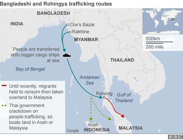 Rutene for menneskehandel begynner i rohingyaenes flyktningleirer i Cox's Bazar samtdelstaten Rakhine i grenseområdet mellom Bangladesh og Myanmar.FOTO: BBC Graphic Map
