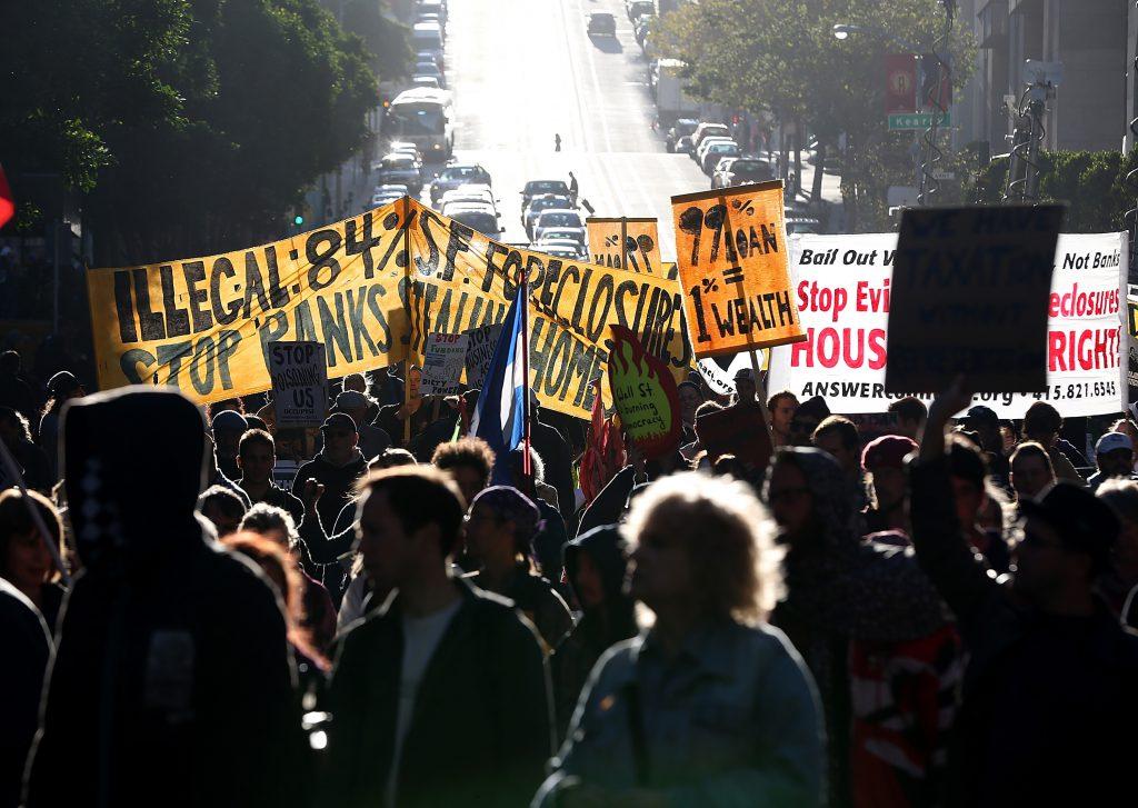 Occupy Wall Street-demonstranter i California Street i San Francisco i september 2012. FOTO:Justin Sullivan/Getty Images/AFP