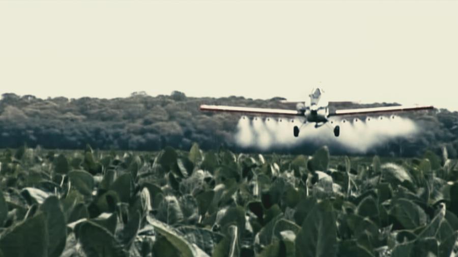 Soyafelt sprøytes med giftige sprøytemidler. Fra filmen.