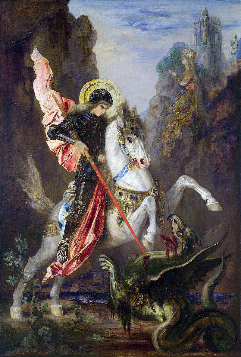 Saint George au combat avec le dragon.